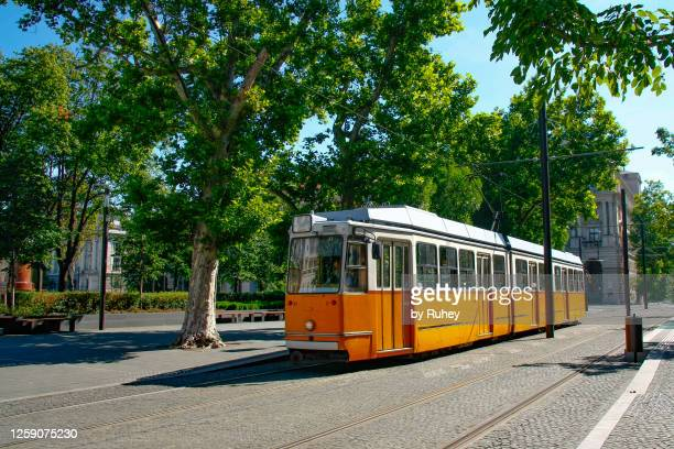 yellow tram on the streets of budapest - hungary stock pictures, royalty-free photos & images