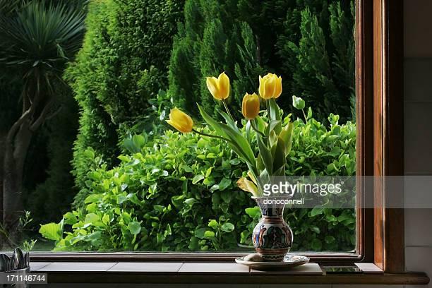 Gelbe Tulpen im Frühling Fenster, Küche