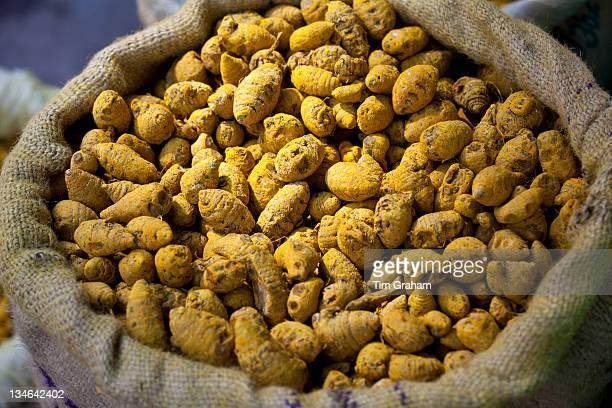 Yellow turmeric on sale at Khari Baoli spice and dried foods market Old Delhi India