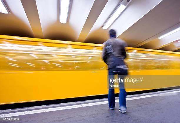 yellow underground train