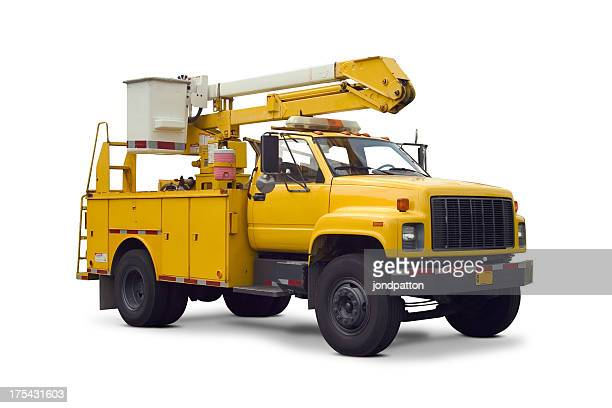 yellow utility truck with cherry picker lift - pick up truck stock pictures, royalty-free photos & images