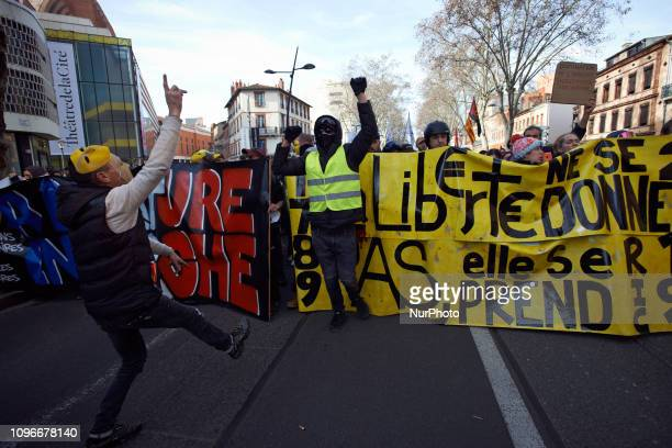 Yellow Vest dance near a banner Act XIII dubbed 'Civil disobediencequot' of the Yellow Vest movement begun peacefully but the protest turned to riot...