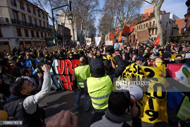 Yellow vest gesture next to a banner More than 10 thousands people demonstrated Act XIII dubbed 'Civil disobediencequot' of the Yellow Vest movement...
