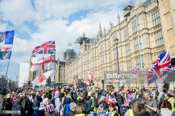 Yellow Vest ProBrexit Protester group clash with the Police outside The Houses of Parliament while attempting to gain entry through a construction...