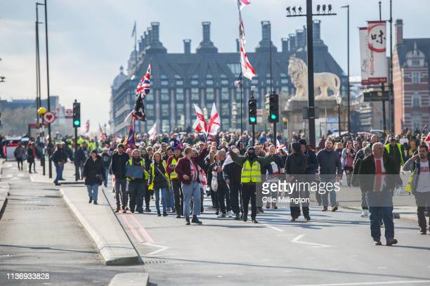 Yellow Vest ProBrexit Protester splinter group from a larger proBrexit protest occcupying Westminster bridge infront of The Houses of Parliament...