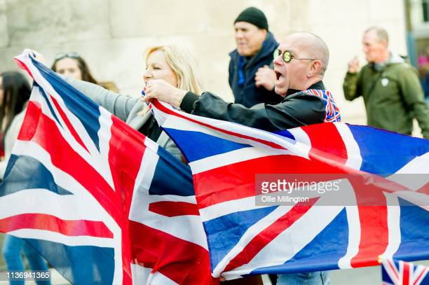 Yellow Vest ProBrexit Protestor seen during a rally at Trafalgar Square on April 13 2019 in London England