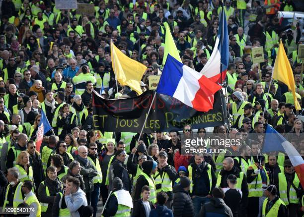 TOPSHOT Yellow Vest protesters rally in Marseille southern France on February 9 as they take the streets for the 13th consecutive Saturday The...