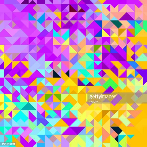 Yellow, violet and blue triangular abstract background