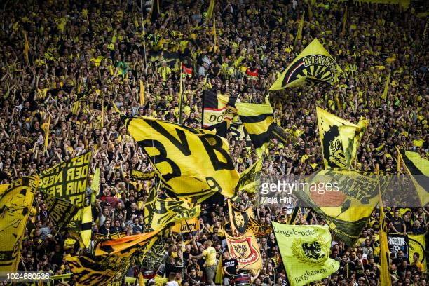 Yellow Wall Gelbe Wand with fans of Borussia Dortmund prior to the Bundesliga match between Borussia Dortmund and RB Leipzig at Signal Iduna Park on...
