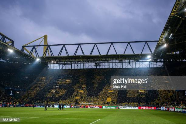 'Yellow wall' of Signal Iduna Park of Dortmund is seen prior the UEFA Champions League Quarter Final first leg match between Borussia Dortmund and AS...