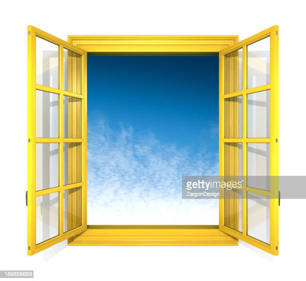 Yellow window on white wall with a sky view