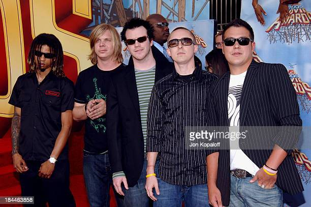Yellowcard during 2005 MTV Movie Awards Arrivals at Shrine Auditorium in Los Angeles California United States