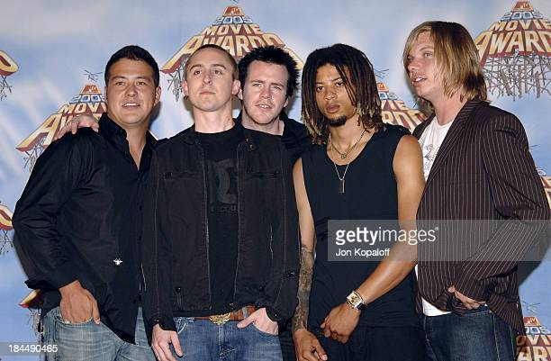 Yellowcard during 2005 MTV Movie Awards Press Room at Shrine Auditorium in Los Angeles California United States