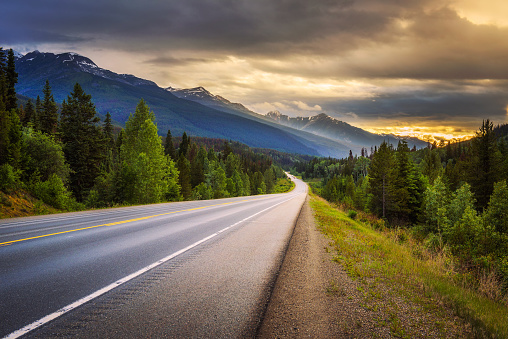 Scenic Icefields Pkwy in Banff National Park at sunset 824182502