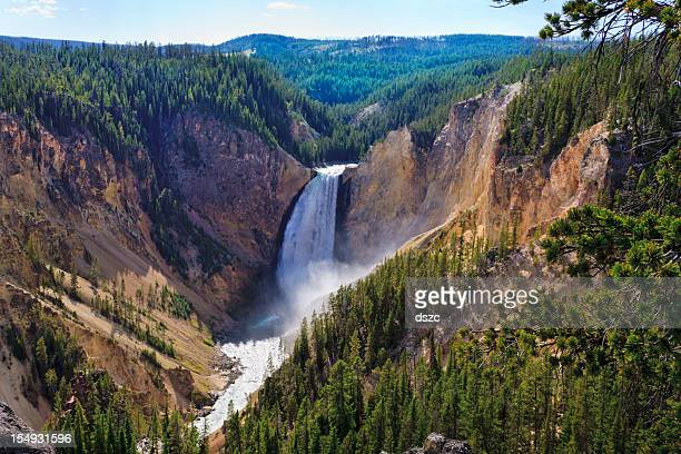 yellowstone falls: river, grand canyon, national park, montana mt - yellowstone river stock photos and pictures