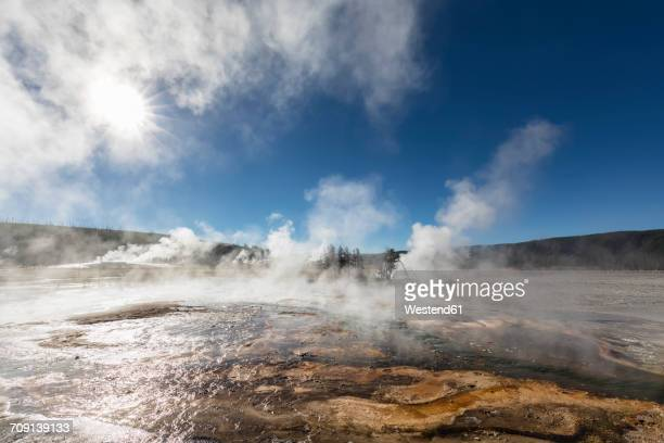usa, yellowstone national park, firehole river, biscuit basin - yellowstone river stock photos and pictures