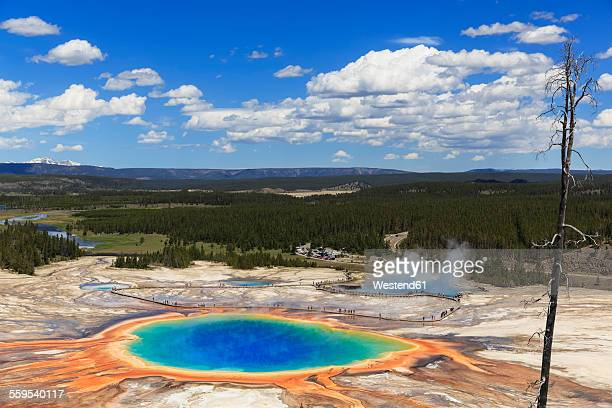 USA, Yellowstone National Park, Lower Geyser Basin, Midway Geyser Basin, Grand Prismatic Spring, elevated view