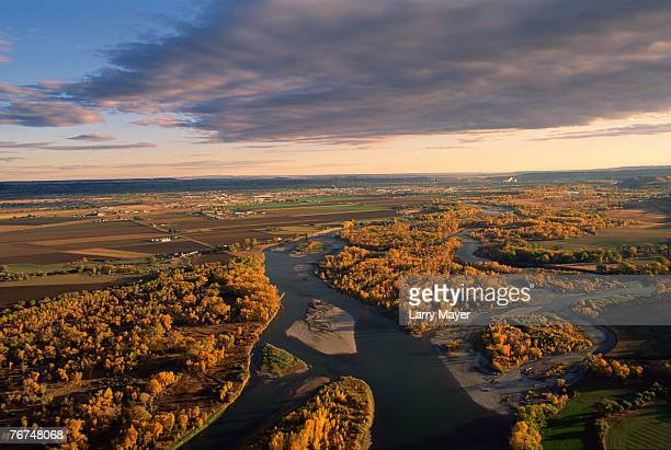yellowstone river and city of billings, montana - billings montana stock pictures, royalty-free photos & images