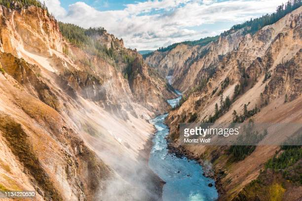 yellowstone river flows through gorge, grand canyon of the yellowstone, view from north rim, brink of the lower falls, yellowstone national park, wyoming, usa - yellowstone river stock photos and pictures