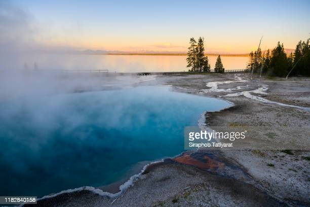 yellowstone west thumb thermal pool close-up - national park stock pictures, royalty-free photos & images