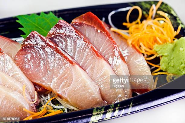 yellowtail sashimi - sashimi stock photos and pictures
