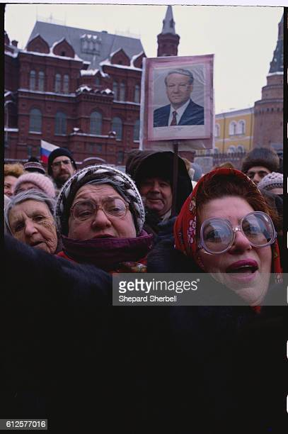 Yeltsin Supporters at Rally