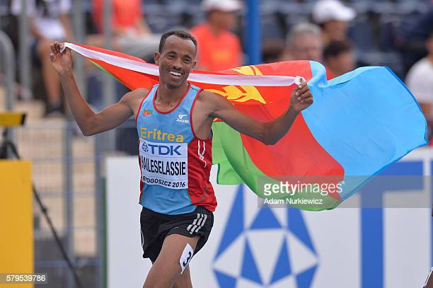 Yemane Haileselassie from Eritrea celebrates after men's 3000 metres steeplechase during the IAAF World U20 Championships at the Zawisza Stadium on...