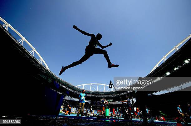 Yemane Haileselassie of Eritrea competes in the Men's 3000m Steeplechase Final on Day 12 of the Rio 2016 Olympic Games at the Olympic Stadium on...