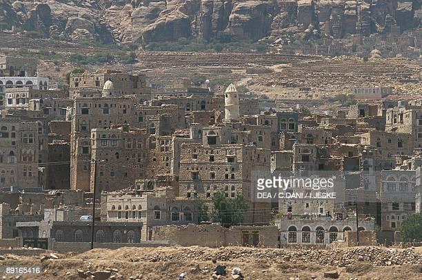 Yemen Hadramawt Shibam town of mud brick houses