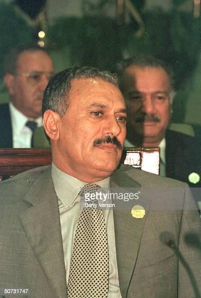Yemen Pres Ali Abdullah Saleh in serious portrait during Arab League summit held October 2122