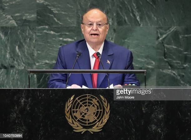 Yemen President AbdRabbu Mansour Hadi addresses the United Nations General Assembly on September 26 2018 in New York City World leaders are gathered...