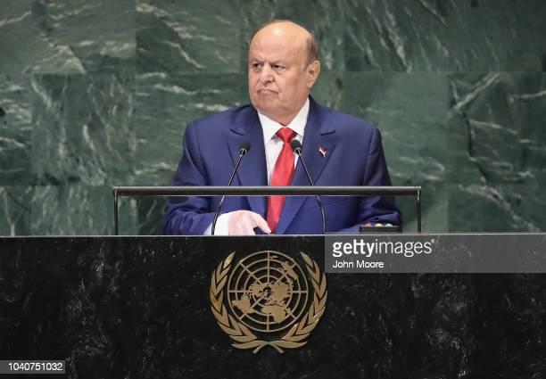 Yemen President AbdRabbu Mansour Hadi addresses the United Nations General Assembly on September 26 2018 in New York City World leaders are gathered...