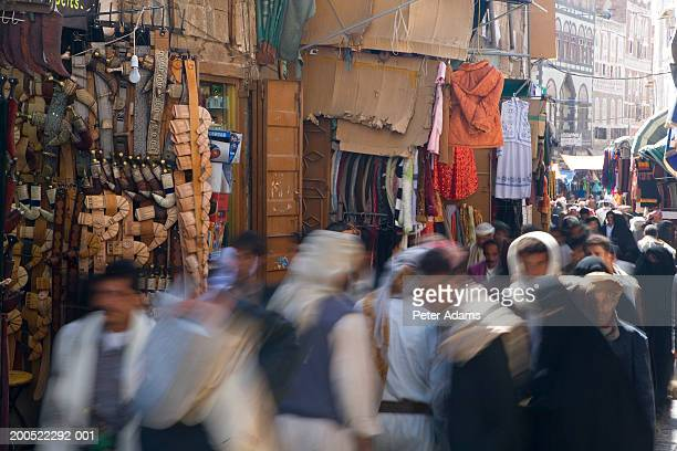 yemen, san'a province, bazaar (blurred motion) - yemen stock pictures, royalty-free photos & images