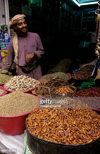 Yemen Sana'a Old Town Souk Dried Chili Peppers And Spices