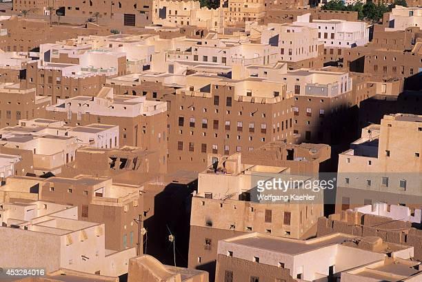 Yemen Wadi Hadramawt View Of New Shibam From Hill Mud Brick Houses