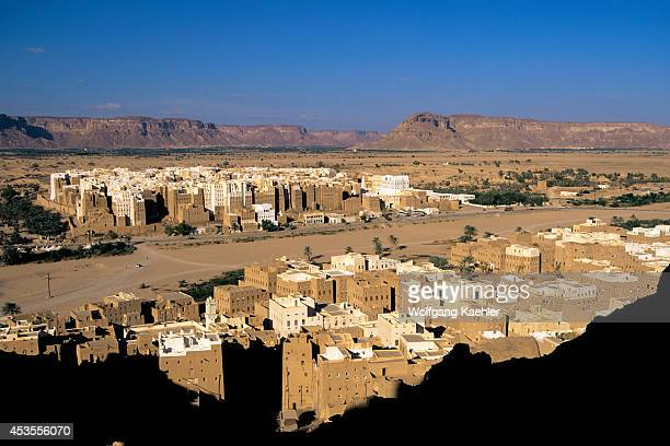 Yemen Wadi Hadramawt View Of Shibam From Hill 'manhattan Of The Desert' Old Town In Background