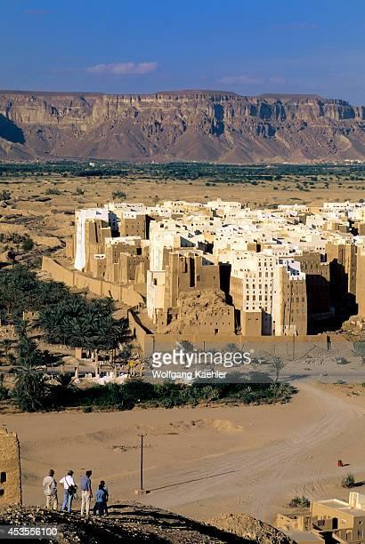 Yemen Wadi Hadramawt View Of Shibam From Hill 'manhattan Of The Desert' Tourists