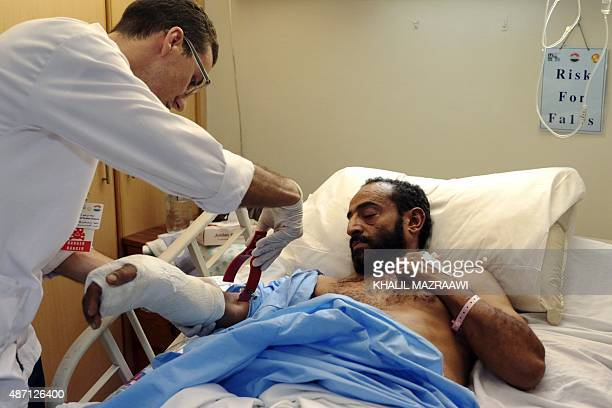 Yemeni Ali Nasser Mohammed 40 years old receives treatment at a hospital in the Jordanian capital Amman on September 6 2015 More than 250 people...