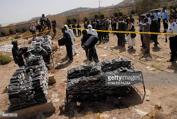 Yemeni antidrug police destroy in Sanaa on May 9 2009 about four tons of Hashish and six million amphetamine pills confiscated over the past 16...