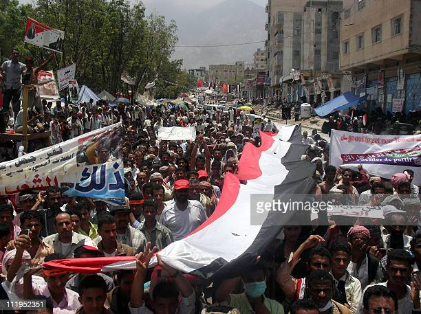 Yemeni anti-government protesters call for President Ali Abdullah Saleh's resignation during a demonstration in Taez on April 10, 2011. At least one...