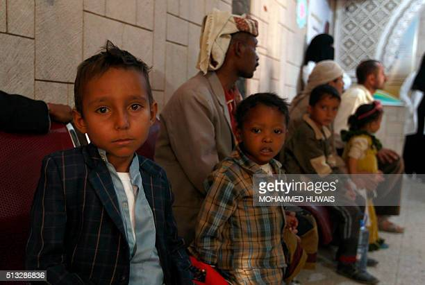 A Yemeni boy looks on after receiving Thalassaemia medications from the Yemen Association for Thalassaemia and genetic blood disorders in the capital...