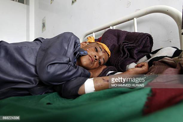 Yemeni child who was wounded during a reported Saudiled coalition air strike on a Koranic school in the Northern Yemeni governorate of Saada more...
