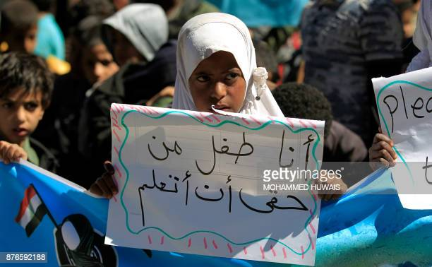 Yemeni children demonstrate on the occasion of the UN's Universal Children's Day on November 20 2017 in front of the UN offices in the capital Sanaa...