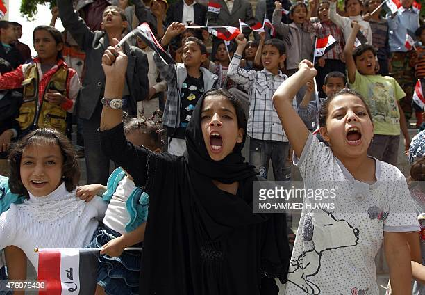 Yemeni children shout slogans during a protest in the capital Sanaa against the Saudiled military operations on June 6 2015 The Saudiled coalition...