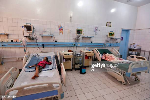Yemeni children suffering from diphtheria receive treatment at a hospital in the capital Sanaa on November 22 2017 The United Nations has warned that...