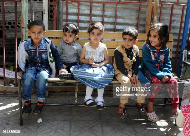 Yemeni children wait to receive vaccine against diphtheria disease at a health center on March 13 2018 in Sana'a Yemen The World Health Organisation...