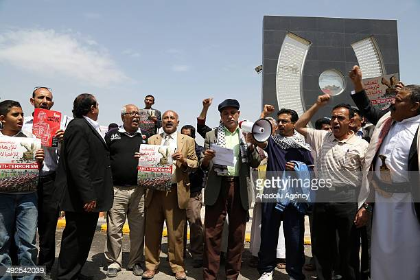 Yemeni citizens take part in anniversary of 2012 Sanaa bombing attack at alSabin Square in Sanaa Yemen on May 21 2014 The 2012 Sanaa bombing attack...
