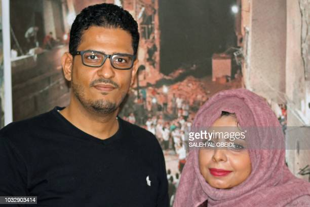 Yemeni director Amr Gamal poses for a photograph with Yemeni actress Abir Abd alKarim after the screening of their movie '10 Days Before the Wedding'...