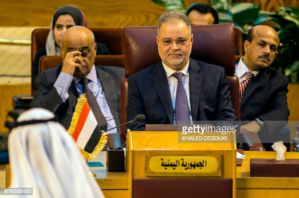 Yemeni Foreign Minister Abdulmalik alMekhlafi attends a meeting at the Arab League headquarters in the Egyptian capital Cairo on November 19 2017...
