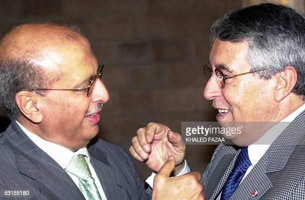 Yemeni Foreign Minister Abu Bakr alKurbi receives his Morrocan counterpart Mohamed Benaissa at Sana airport 27 June 2005 Foreign ministers of the...